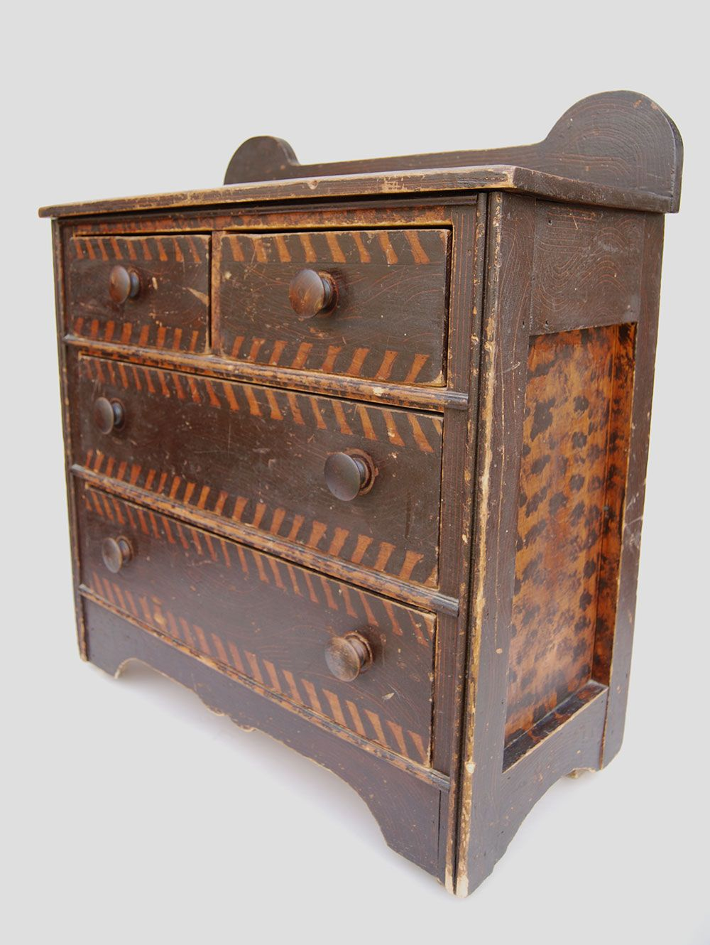 19th Century Folk Art Paint Decorated Childs Chest | New England Antique  American Furniture - 19th Century Folk Art Paint Decorated Childs Chest New England
