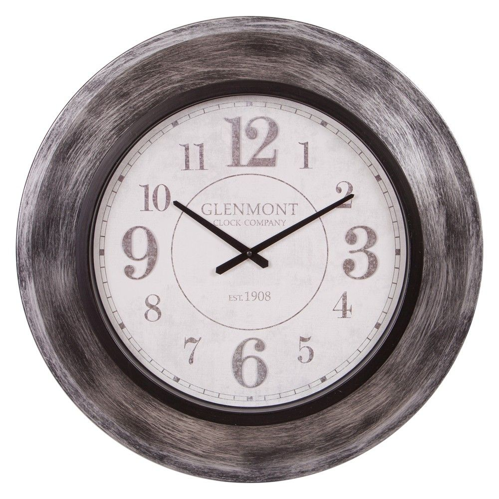 Add A Classic Touch To You Décor With This 23 Glenmont Gunmetal Modern Slope Framed Wall Clock Inspired By Vintage Time Pieces Frames On Wall Wall Clock Clock