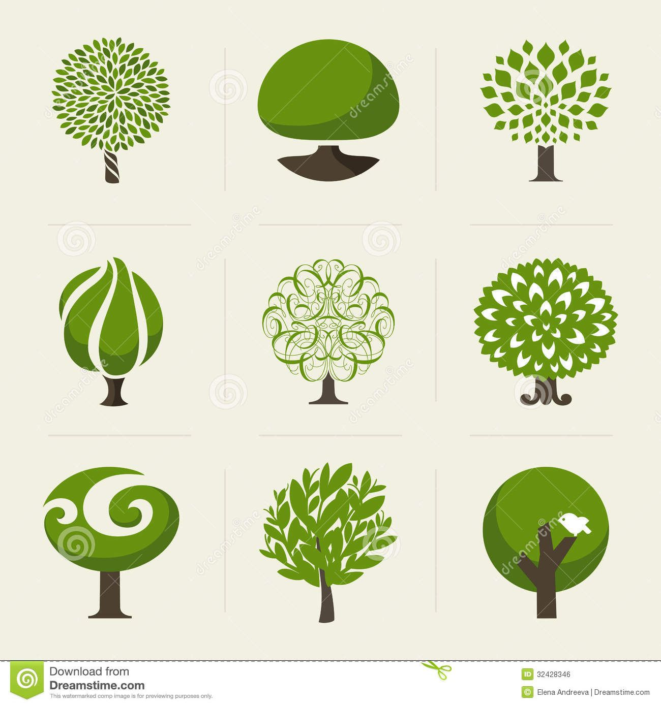 Tree Collection Design Elements Royalty Free Stock Image