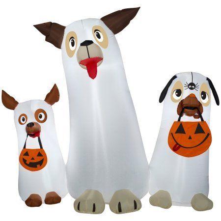 Airblown InflatableGhost Dogs Trio Scene Outdoor Patio Halloween - outdoor inflatable halloween decorations