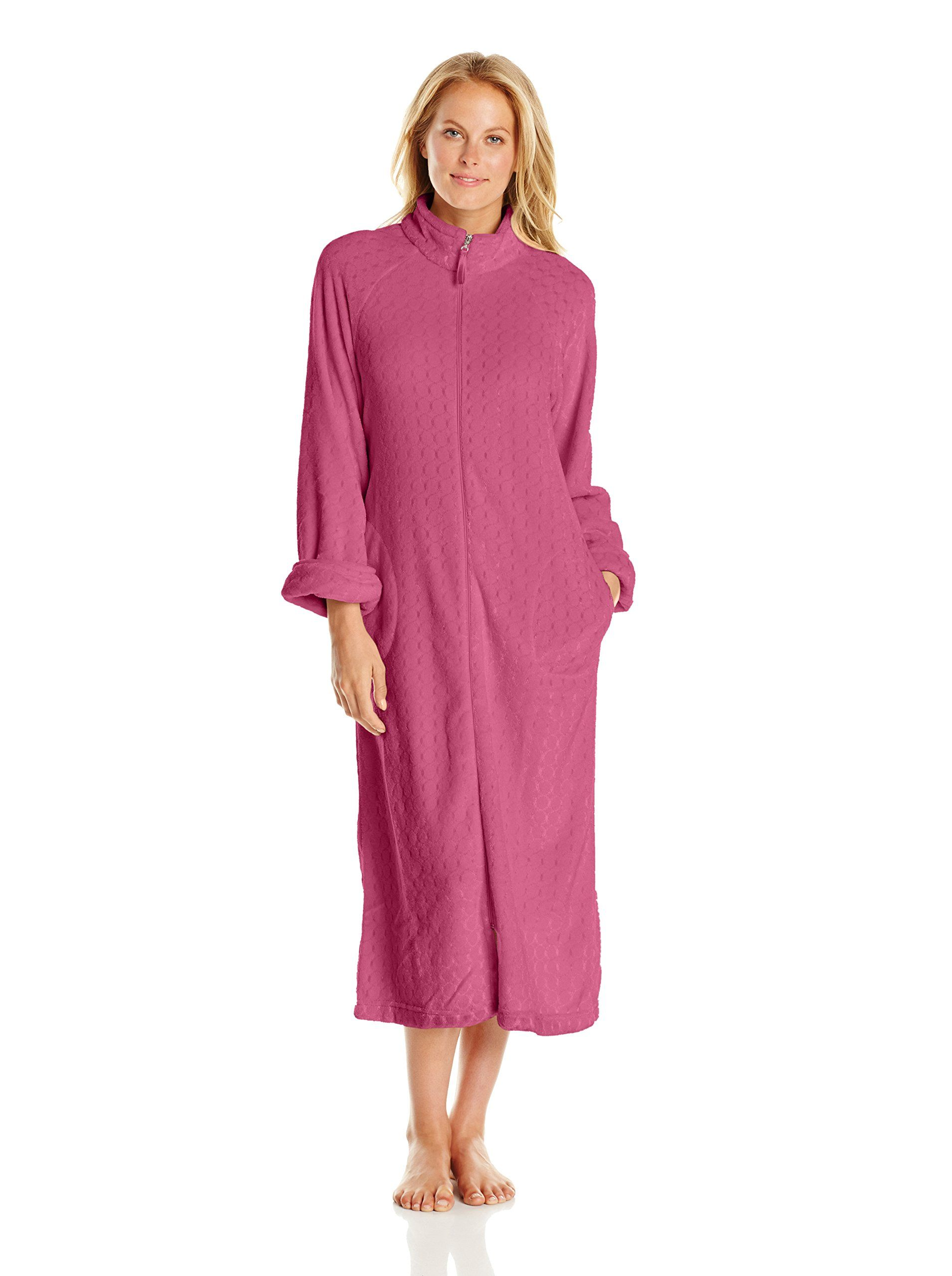 Textured Fleece Zip-Up Robe   Amazon