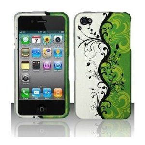 WHITE GREEN VINE Design Protector Hard Cover Case Compatible for Apple Iphone 4 / Iphone 4S [AT, VERIZON, SPRINT]