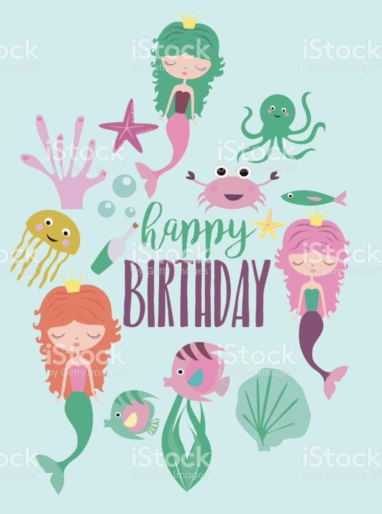 Happy birthday greeting or invitation card template with cute mermaid birthday party card royalty free stock vector art stopboris