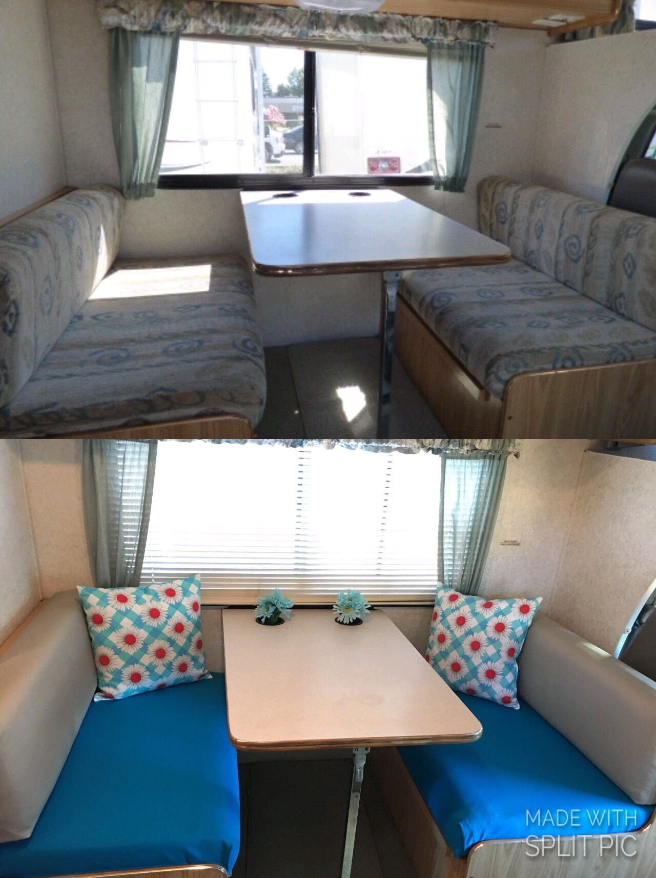 Reupholstered RV cushions. Slipped plywood under
