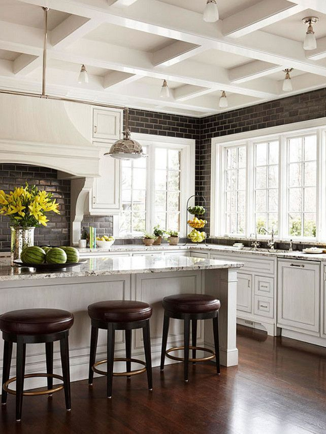 Lovely White Cabinets with Wood Trim