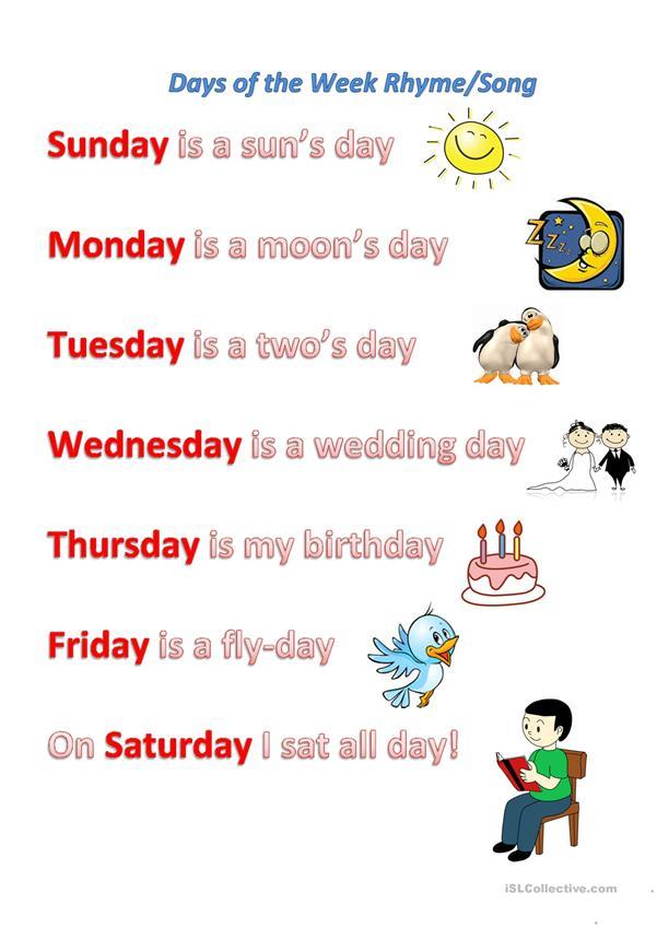 Have Fun Teaching Days Of The Week Song : teaching, Rhyme/song, Worksheet, Printable, Worksheets, Teachers, English, Poems, Kids,, Classroom, Songs,, Kindergarten, Songs