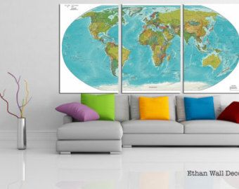 Detailed World Map Canvas Print Wall Art 3 4 5 Panel Large