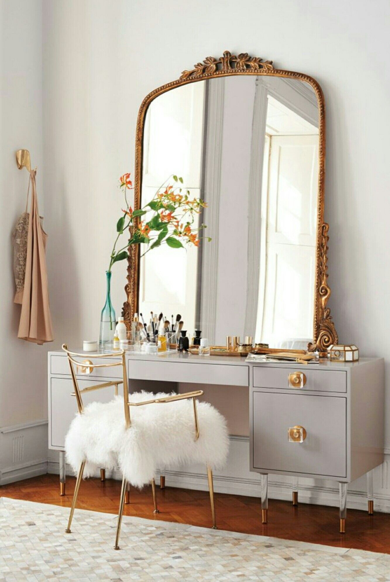 Vanity, French, Large Mirror, Furry Chair Bedroom Mirrors, Antique Bedroom  Decor,