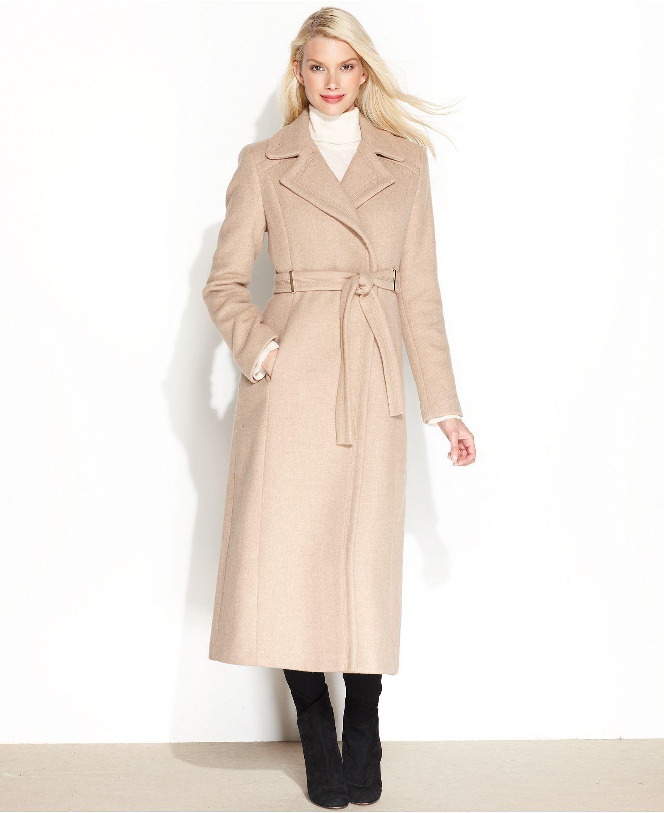 Calvin Klein Coat, Wool-Blend Belted Maxi