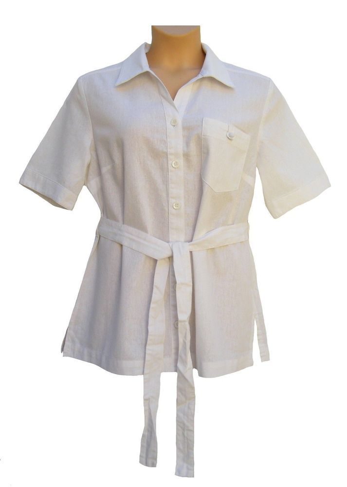 Womens Berkertex White Linen Mix Wrap Tie Belted blouse shirt size 18
