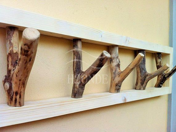 Appendino In Legno.Wood Tree Branch Hook Coat Rack Mounted Garment Rustic