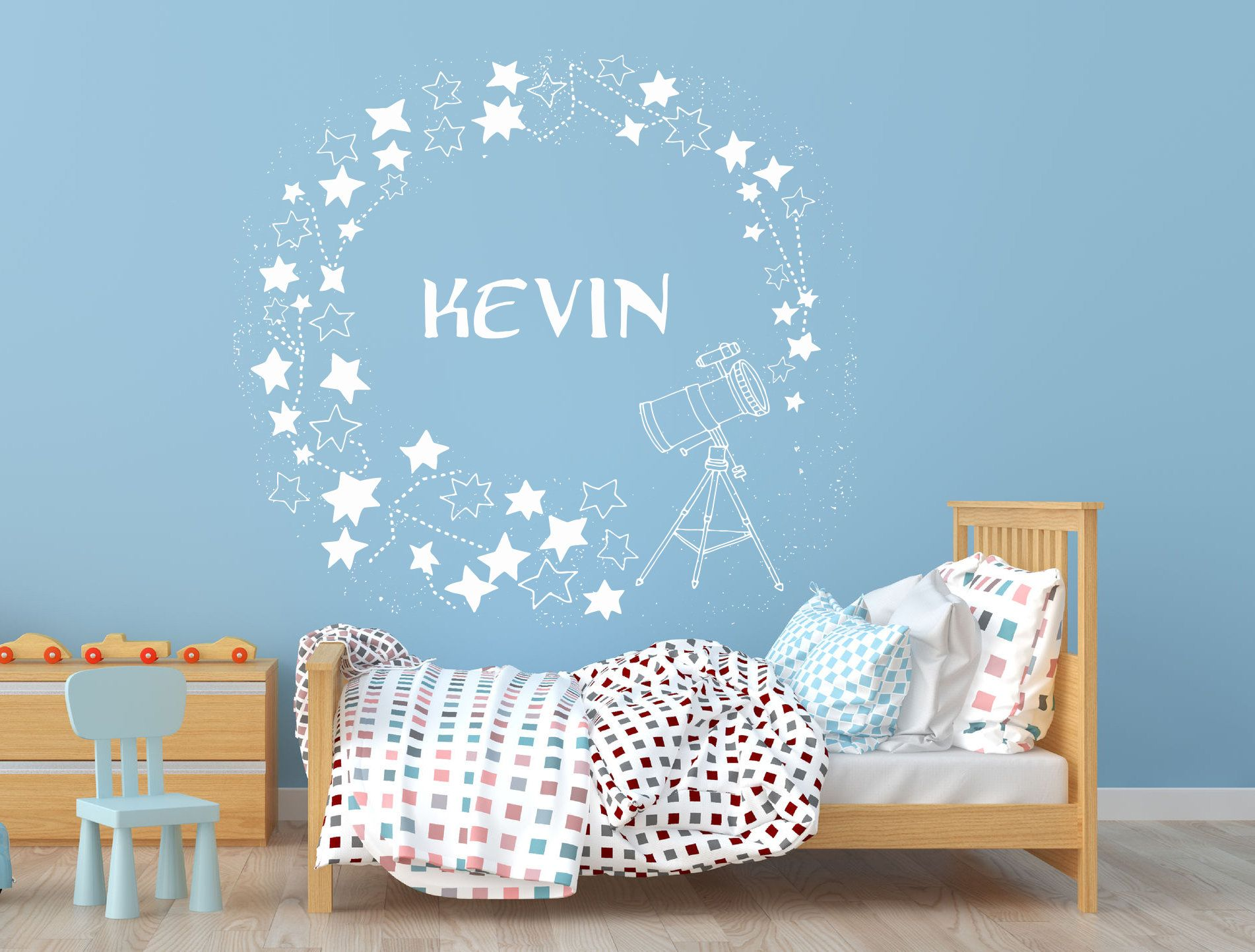 Custom Name Stars Constellation Wall Decal Astronomy Telescope Stars Wall Sticker Sky Wall Art C13 Constellation Wall Decal Star Wall Wall Decals
