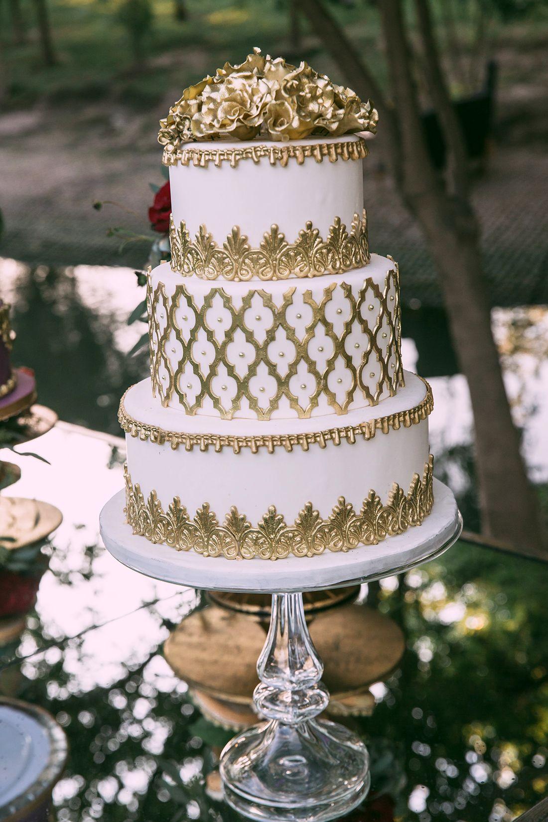 White Gold Wedding Cake Three Layered Cake Gold Detailing