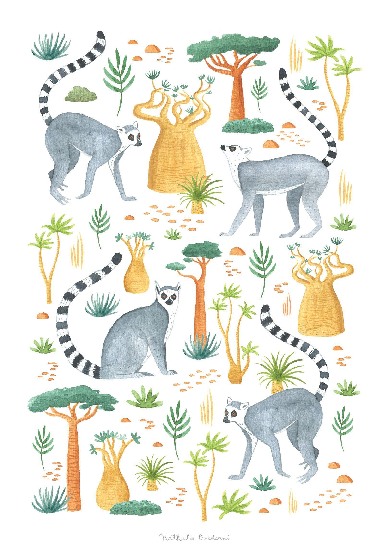 lemur art jungle nursery print lemur print jungle animal print