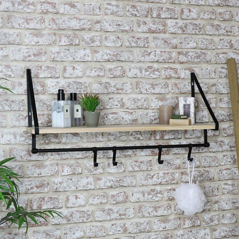 Wall Shelf With Hanging Hooks In 2020