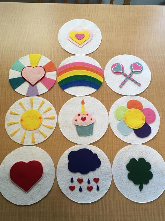 Set von 10 Pflege Bär-inspiriert Bauch Abzeichen Kostüm Zubehör oder Party zugunsten 8-Zoll #carebearcostume
