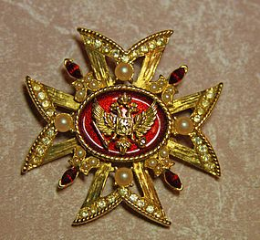 Treasures of the Czars Exhibit Volunteer Brooch 1995 / This Brooch was given to each Volunteer who worked as a docent or attendant at every exhibit throughout the United States. These were not available for sale, so they were coveted and very limited in production /300