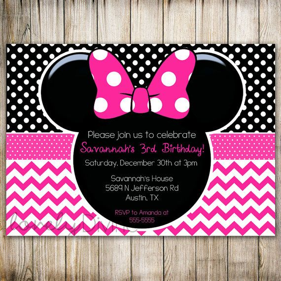 Minnie Mouse Chevron Birthday 1st Invitation 2nd 3rd Polka Dot PRINTABLE