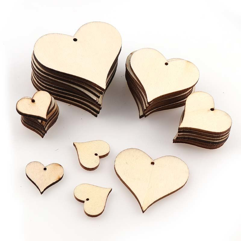 50pcs Wooden Love Hearts Wood Slices Embellishments Scrapbooking Wedding 25mm