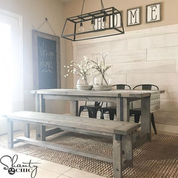 Build this simple DIY Industrial Farmhouse Table with only framing materials and five tools! How-to video and free plans at www.shanty-2-chic.com. #diykitchenideas