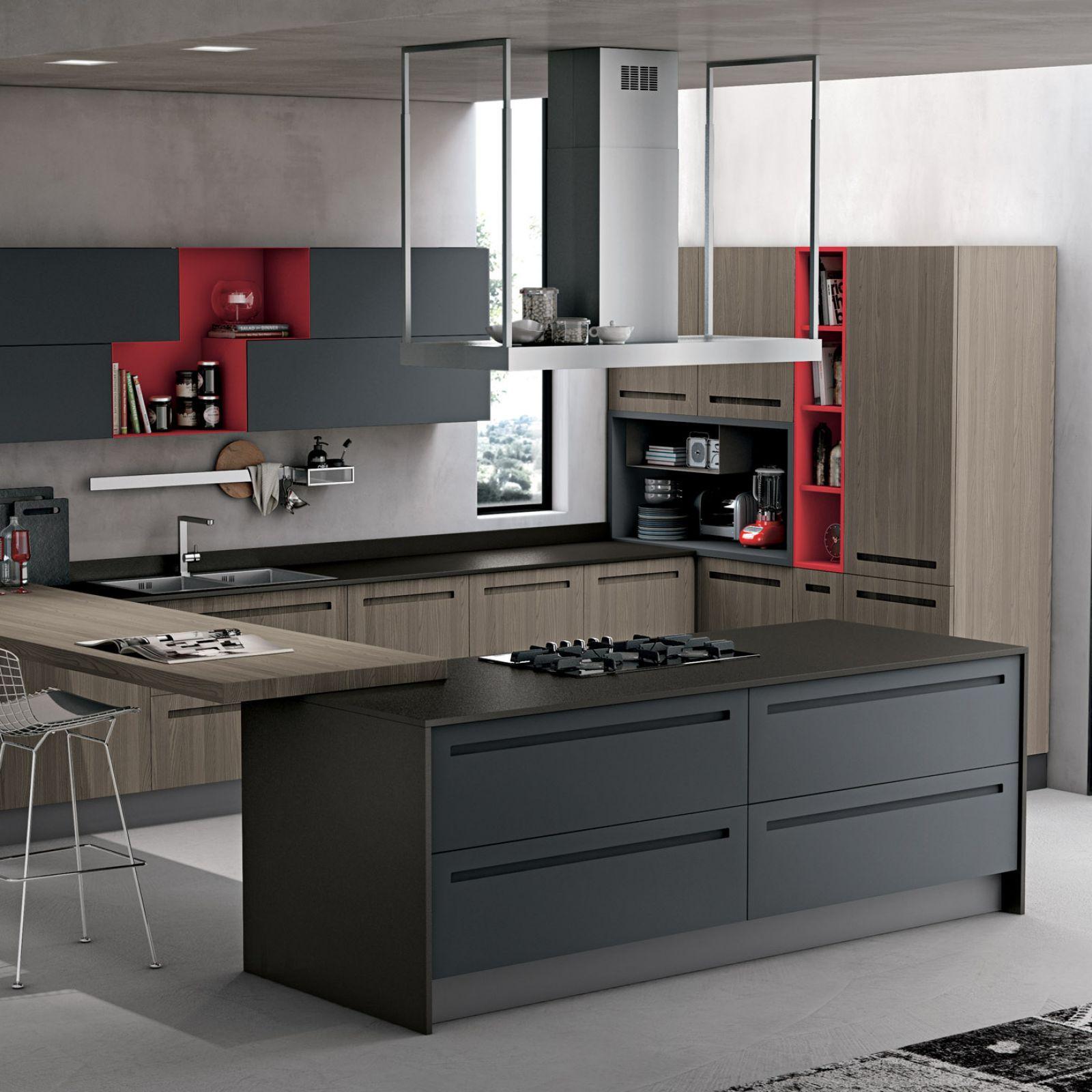 la cucina moderna che disegna lo spazio unendo kitchen e living con una