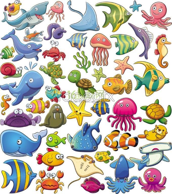 Cute sea animal cartoon vector Cartoon sea animals