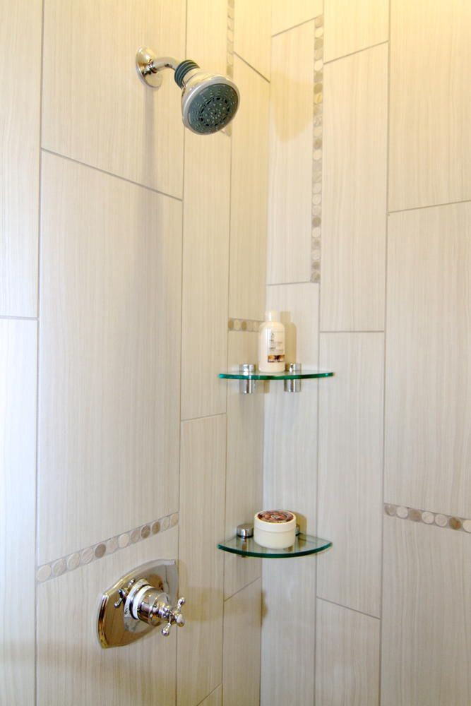 Image of shower with corner glass shelves | For the Home | Pinterest ...