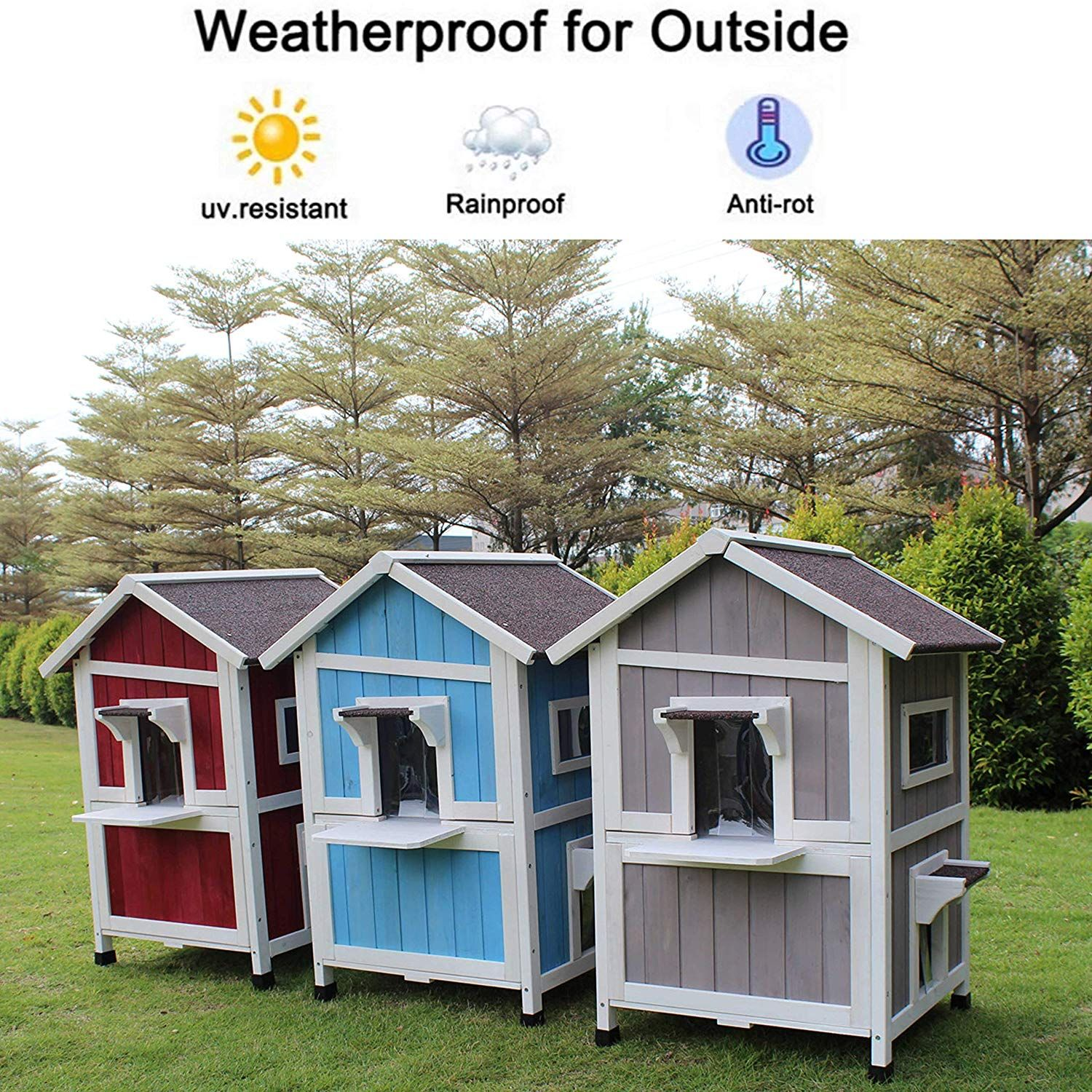 Rockever Outdoor Cat Shelter With Escape Door Rainproof Outside Kitty House Outdoor Cat House Outdoor Cat Shelter Outside Cat House