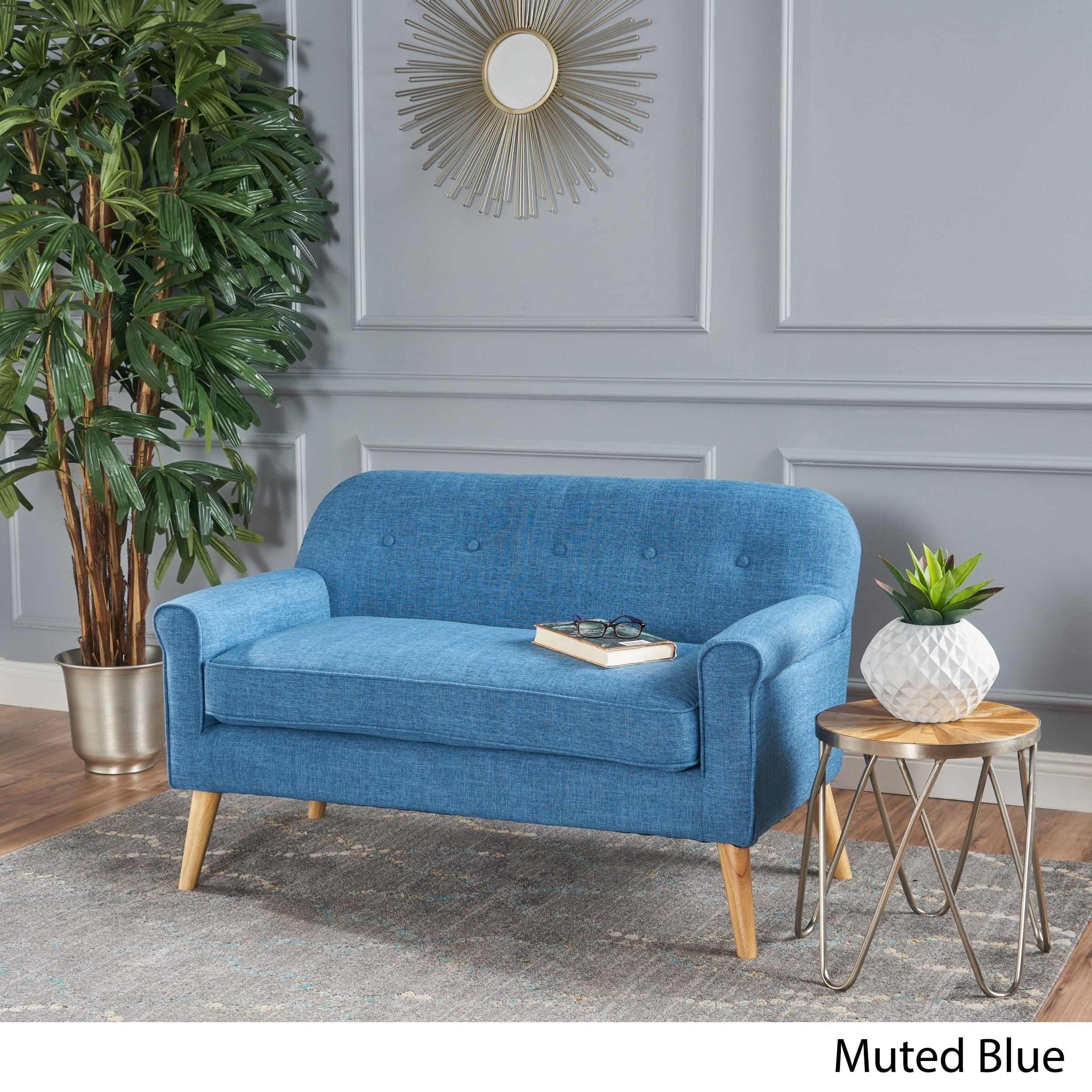 Mariah Mid Century Fabric Loveseat By Christopher Knight Home