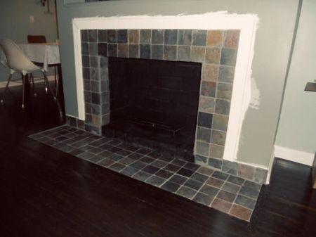 Fireplace Makeover Removing A Brick Hearth And Retiling Brick Hearth Tiled Fireplace Wall Fireplace Remodel