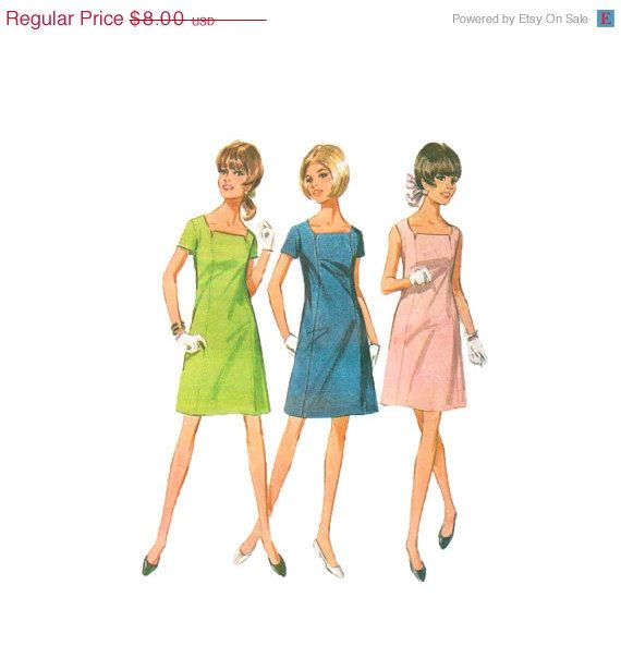 1960s Dress Pattern McCalls 9265 Notched Square Neckline Bust 34 ...