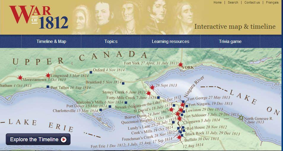 War of 1812 Interactive website History Pinterest