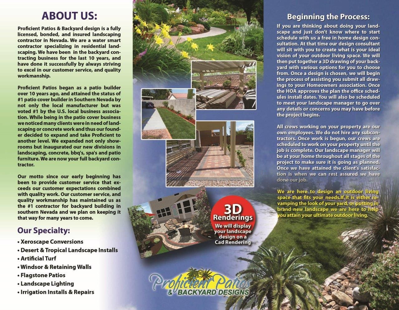 Las Vegas Patio Covers Brochure Design | Landscaping Advertisers ...