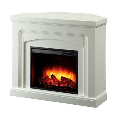 Pleasant Hearth 42-in White Corner or Flat Wall Electric Fireplace