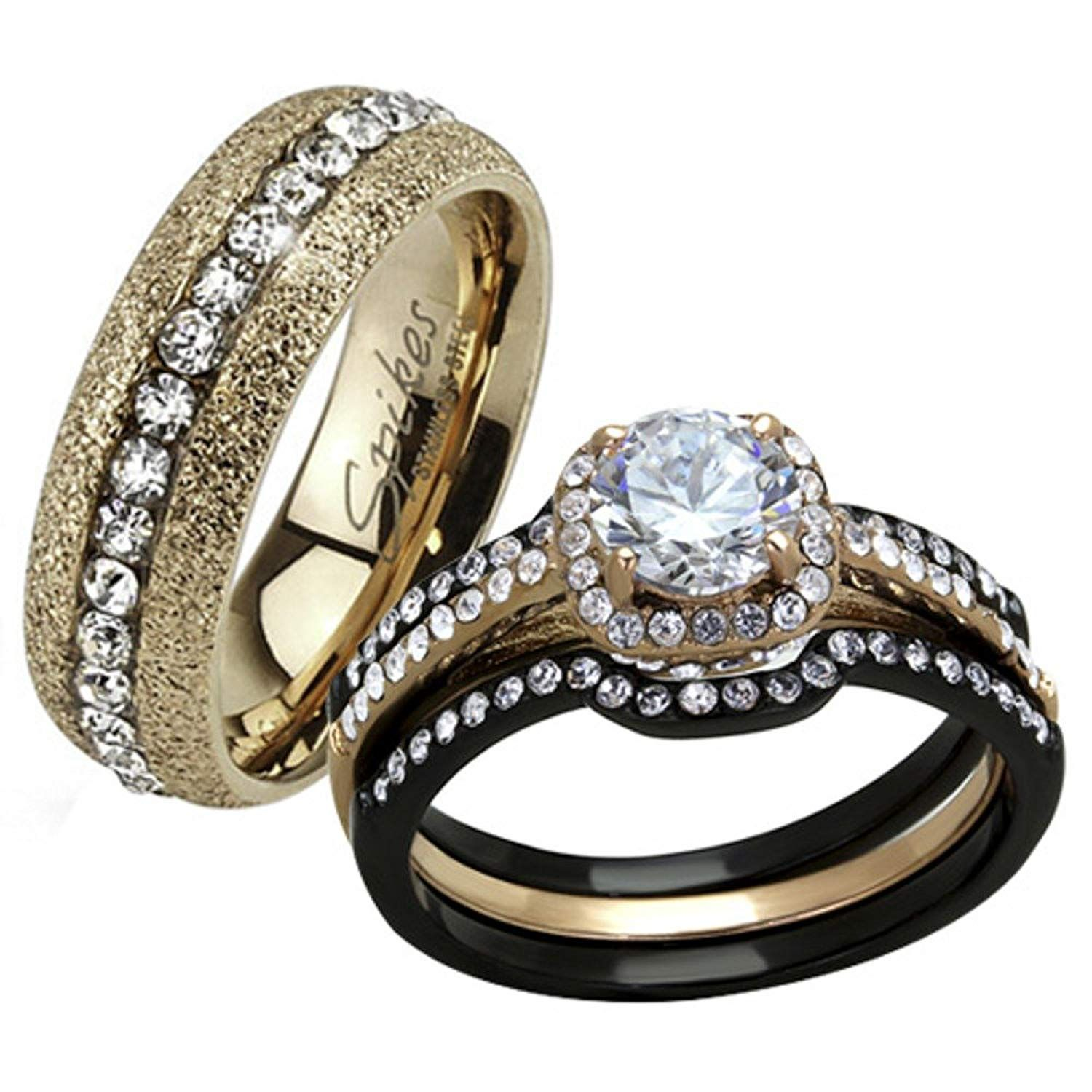 HIS HERS 4 PC BLACK and ROSE GOLD STAINLESS STEEL WEDDING