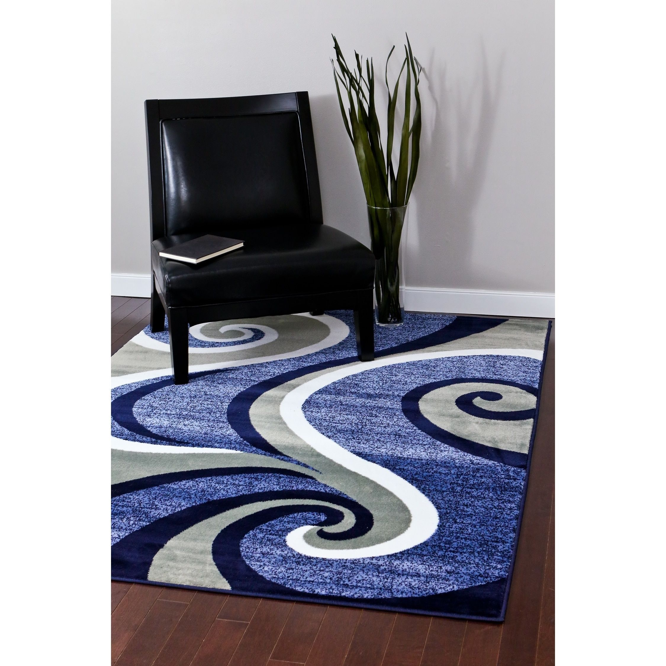 Modern Trendz Collection Dark Blue Swirl Rug 7 10 X 10 2 Blue 7 10 X 10 2 Black Polypropylene Abstract Rugs On Carpet Rugs In Living Room Modern Rugs