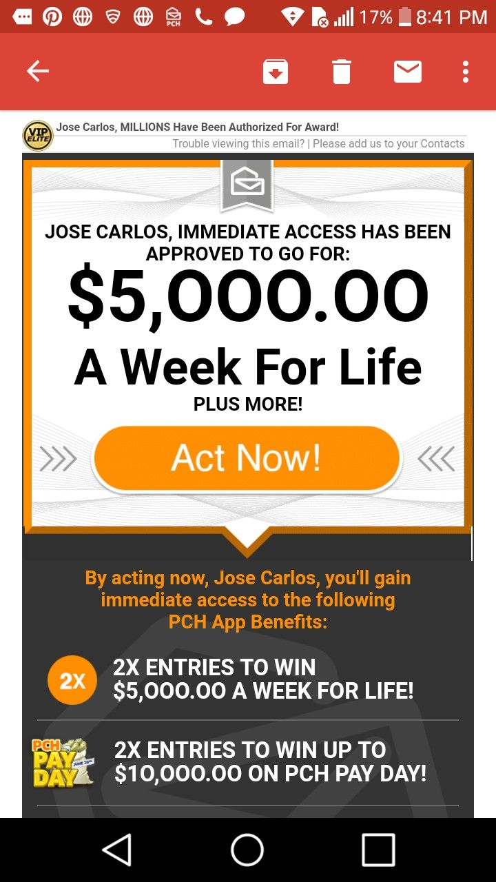 Publishers clearing house i jose carlos gomez claim pch