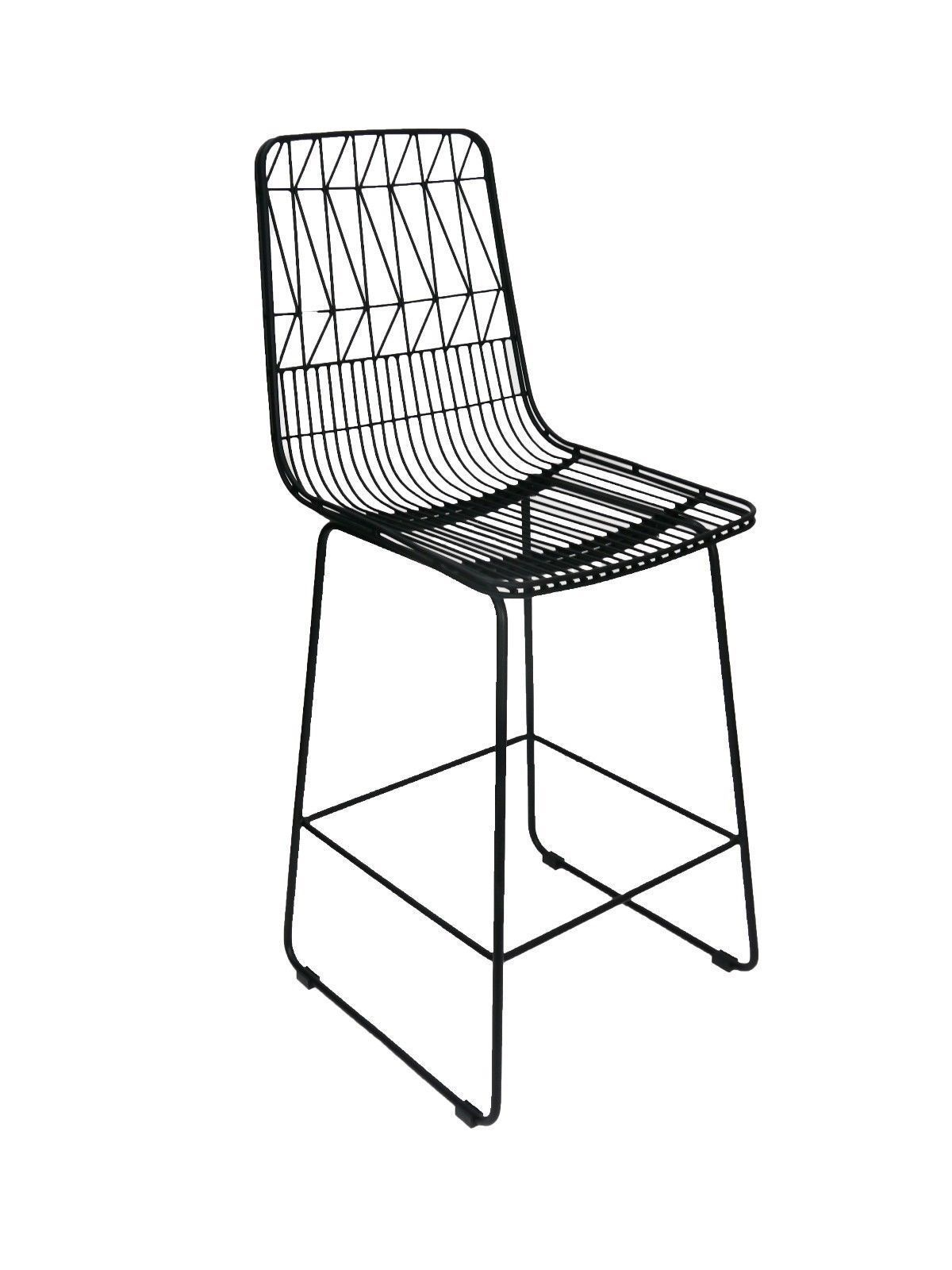 Outdoor Bar High Stool Replica Wire Lucy Kitchen 65cm Matte Black