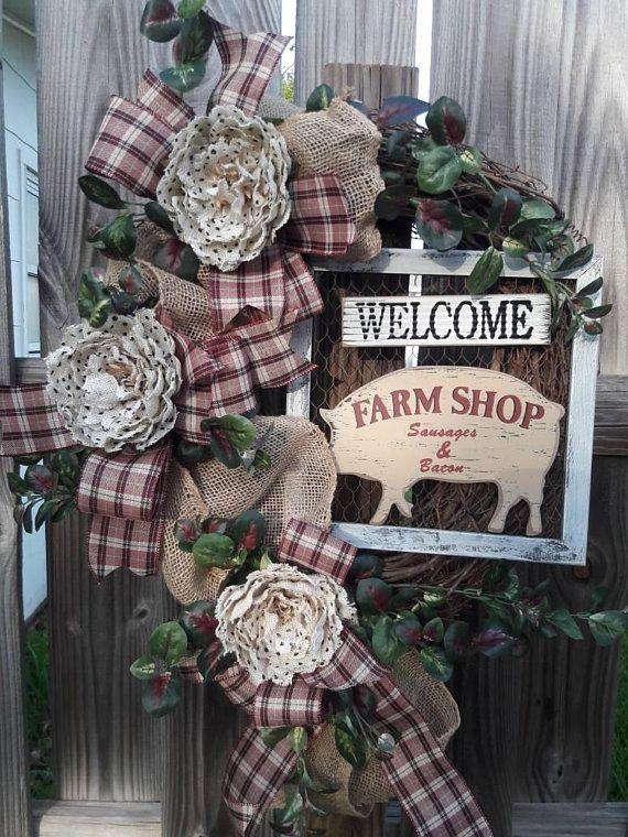 Photo of Farmhouse wreath,burlap wreath,grapevine wreath,Summer Wreath,front door wreath,Wreath for front door,Welcome wreath,grapevine wreath