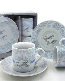 Mr and Mrs Couples Espresso Cup Favor Set wedding favor bridal
