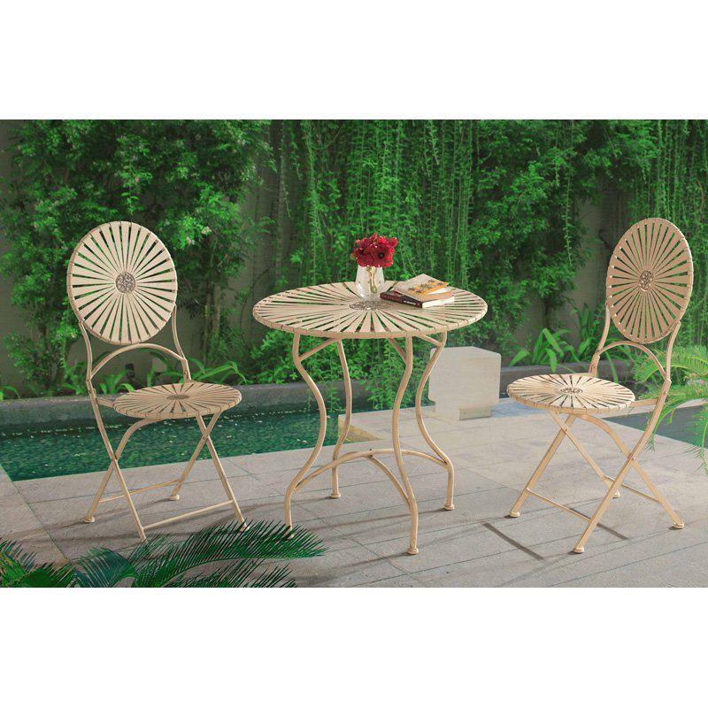 outdoor sunnest soda steel antique white 3 piece patio bistro set