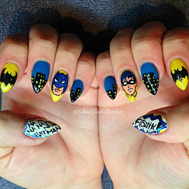 Batman nail art - Batman Nail Art Nails ♔ Pinterest Batman Nails, Pretty Nail