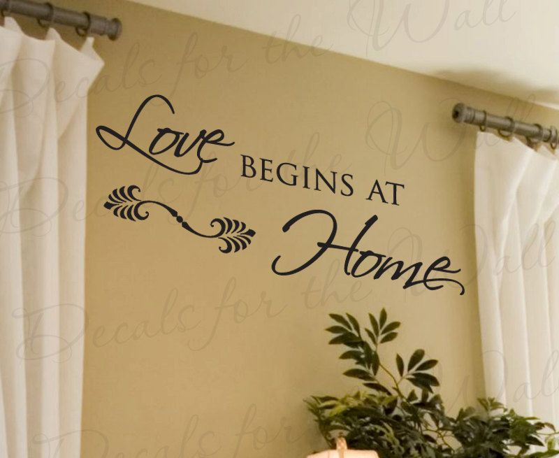 Love Begins at Home Family Large Wall Saying Quote Design Decal ...