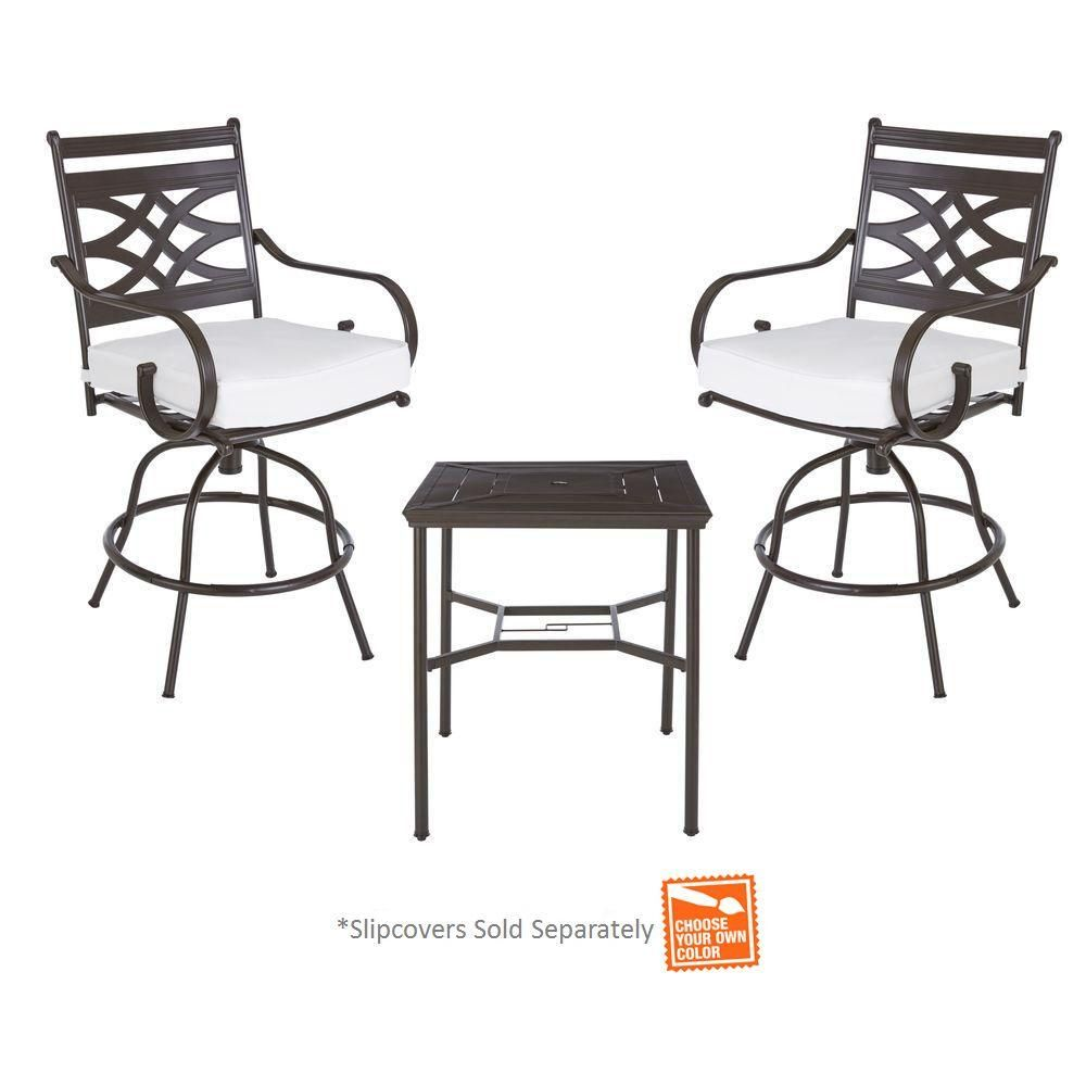 hampton bay middletown 3 piece motion high patio dining set with
