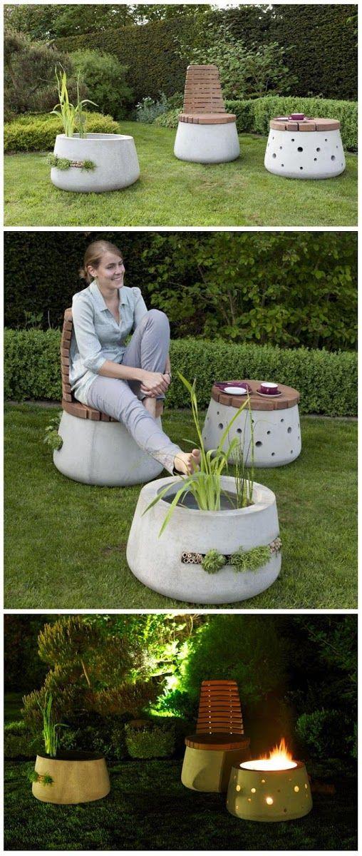 beautiful concrete garden furniture outdoor entertaining