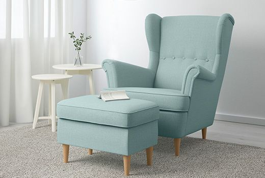 Ikea Sessel Strandmon Ohrensessel Textil Skiftebo Hellturkis