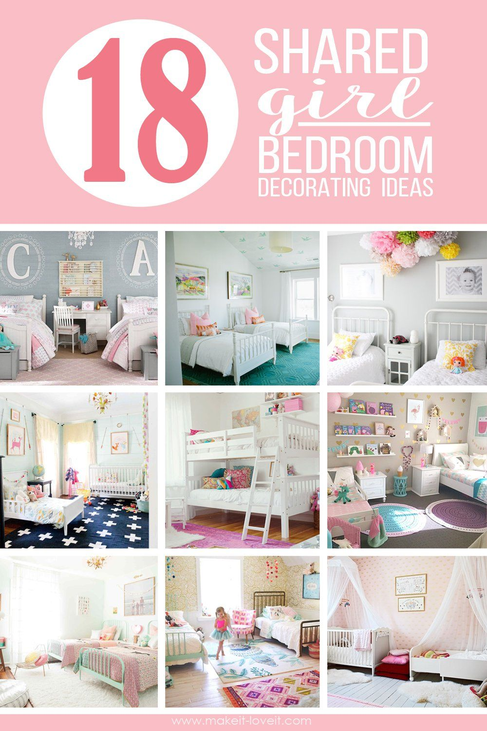 18 shared girl bedroom decorating ideas via make it and love it - Girls Bedroom Decorating Ideas