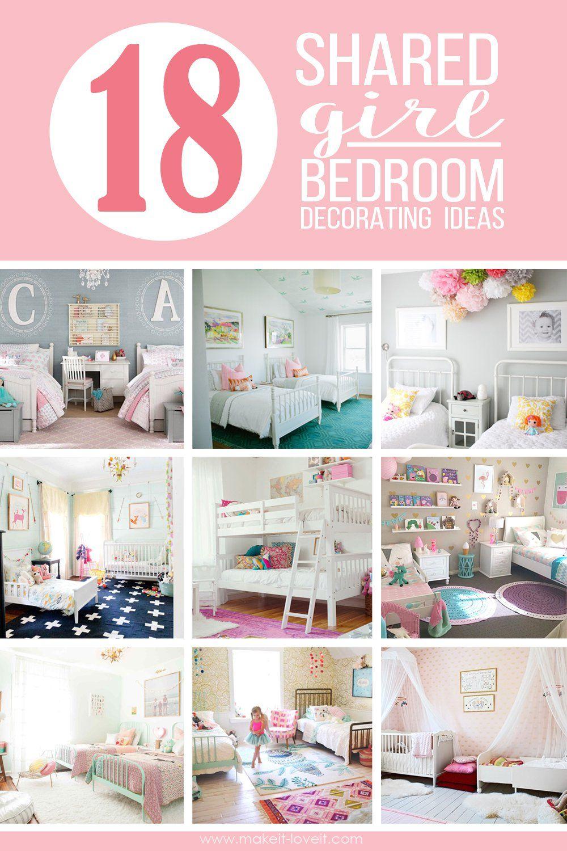 18 shared girl bedroom decorating ideas via make it and love it - Girls Bedroom Decorating Ideas