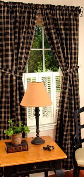 Check Out The Deal On Middletown Check Black Drapery Panel Set At Primitive  Home Decors