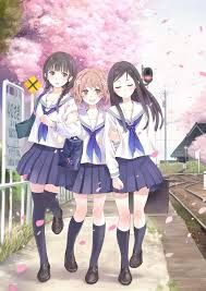 Three Girls Students Gadis Animasi Animasi Gambar Manga
